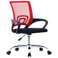 vidaXL kontoritool võrgust seljatoega, punane, kangas