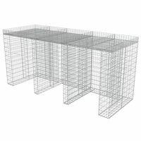 vidaXL gabioonsein prügikastidele, tsingitud teras, 270 x 100 x 130 cm