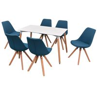 vidaXLi seitsmeosaline söögilaua ja toolide komplekt valge ja sinine