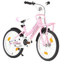 vidaXL laste jalgratas esipakiraamiga, 18'', roosa ja must