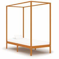 vidaXL baldahhiinvoodi raam, meepruun, männipuit, 100 x 200 cm
