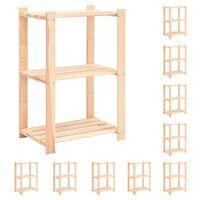 vidaXL 3-korruselised hoiuriiulid, 10 tk 60x38x90 cm männipuit 150 kg