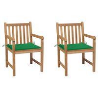 vidaXL aiatoolid 2 tk roheliste istmepatjadega, tiikpuu