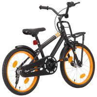 vidaXL laste jalgratas esipakiraamiga, 18'', must ja oranž