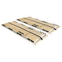 vidaXL voodi aluspõhjad, 2 tk, 28 liistu, 7 piirkonda, 90 x 200 cm