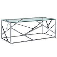 vidaXL kohvilaud 120 x 60 x 40 cm karastatud klaas ja roostevaba teras