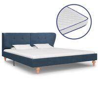 vidaXL voodi mäluvahust madratsiga, sinisest kangast, 160 x 200 cm