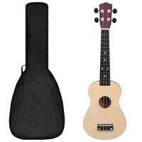 """vidaXL sopran ukulele komplekt kotiga lastele hele puit 23"""""""