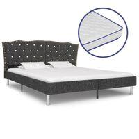 vidaXL voodi mäluvahust madratsiga, tumehall, kangast, 160 x 200 cm