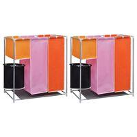 vidaXL 3-osalised musta pesu sorteerimise kotid, 2 tk, pesukorviga