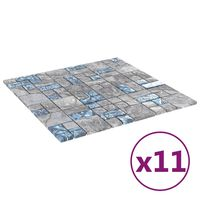 vidaXL isekinnituvad mosaiikplaadid 11 tk hall, sinine 30x30 cm klaas