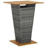 vidaXL baarilaud, hall 80 x 80 x 110 cm, polürotang ja akaatsiapuit