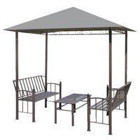 vidaXL aiapaviljon laua ja pinkidega 2,5 x 1,5 x 2,4 m antratsiit