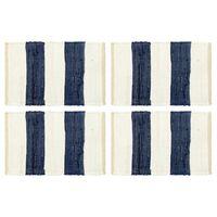 vidaXL lauamatid 4 tk Chindi triip, sinine ja valge 30 x 45 cm