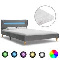 vidaXL voodi LEDi ja madratsiga helehall kangas 140 x 200 cm