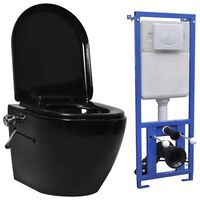 vidaXL seinale kinnituv ääreta peidetud loputuskastiga WC-pott, must
