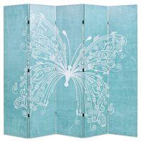vidaXL kokkupandav sirm 200 x 170 cm liblikaga, sinine