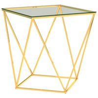 vidaXL kohvilaud kuldne ja läbipaistev, 50x50x55 cm, roostevaba teras