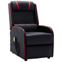 vidaXL massaažitool, must ja punane, kunstnahk