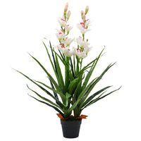 vidaXL kunsttaim tsümbiidium orhidee potiga, 100 cm, roheline
