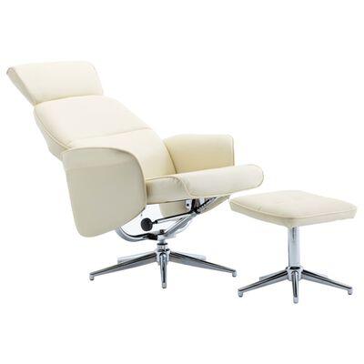 vidaXL allalastava seljatoega tool jalapingiga kreemjasvalge kunstnahk, Creamwhite