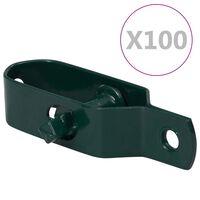 vidaXL piirdeaia pingutid 100 tk 90 mm terasest roheline