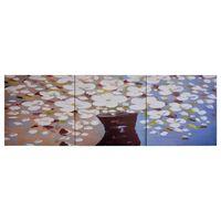 vidaXL seinamaalikomplekt lõuendil, lilled vaasis värviline, 120x40 cm