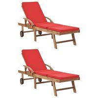 vidaXL lamamistoolid istmepatjadega 2 tk, tiikpuu, punane