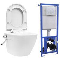 vidaXL seinale kinnituv ääreta peidetud loputuskastiga WC-pott, valge