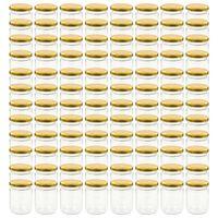 vidaXL klaasist moosipurgid kuldsete kaantega 96 tk, 230 ml