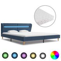 vidaXL voodi LEDi ja madratsiga, sinine kangas 180 x 200 cm
