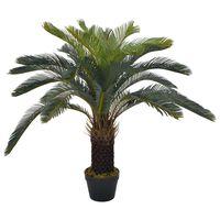 vidaXL kunsttaim sago palm lillepotiga, roheline, 90 cm