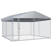 vidaXL katusega koeraaed 382 x 382 x 225 cm