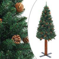 vidaXL kitsas kunstkuusk puidu ja männikäbidega, roheline, 180 cm, PVC