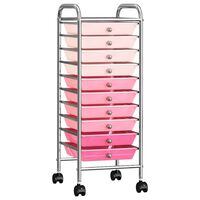 vidaXL 10 sahtliga liigutatav hoiukäru, ombre, roosa, plast