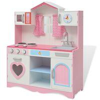 vidaXL mänguköök, puidust 82 x 30 x 100 cm roosa ja valge
