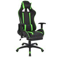 vidaXL võidusõiduistme disainiga kontoritool jalatoega, roheline