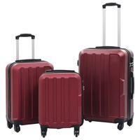 vidaXL kõvakattega kohver, 3 tk, veinipunane, ABS