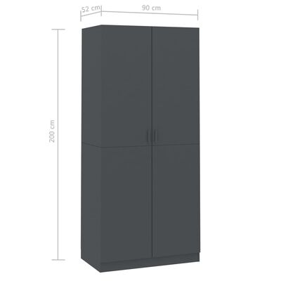vidaXL garderoob hall 90 x 52 x 200 cm puitlaastplaat