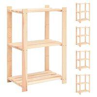 vidaXL 3-korruselised hoiuriiulid, 5 tk, 60x38x90 cm männipuit 150 kg