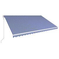 vidaXL automaatselt sissetõmmatav varikatus 500x300 cm sinine ja valge