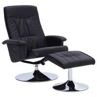 vidaXL allalastava seljatoega tool, jalapingiga, must, kunstnahk