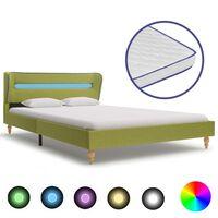 vidaXL voodi LEDi ja mäluvahust madratsiga roheline kangas 140x200 cm