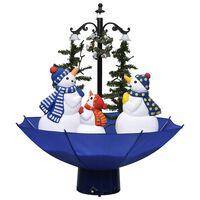 vidaXL lumesajuga jõulukuusk vihmavarjualusega sinine 75 cm, PVC