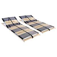 vidaXL voodi aluspõhjad, 2 tk, 42 liistu, 7 piirkonda, 70 x 200 cm