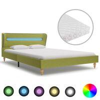 vidaXL voodi LEDi ja madratsiga, roheline kangas 120 x 200 cm