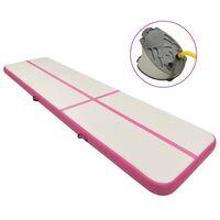 vidaXL täispumbatav võimlemismatt pumbaga 700x100x15 cm PVC roosa