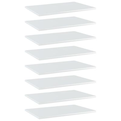 vidaXL riiuliplaadid 8 tk, valge, 60x40x1,5 cm, puitlaastplaat
