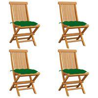 vidaXL aiatoolid roheliste istmepatjadega, 4 tk, tiikpuu