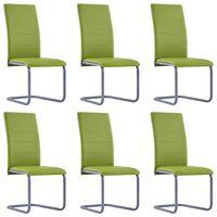 vidaXL vetruvate jalgadega söögitoolid 6 tk, roheline, kunstnahk